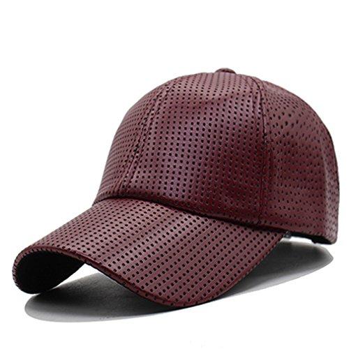 Treytcap Baseball Cap Women Leather Caps Men Adjustable Pu Winter Hats For Men Baseball Cap wine red