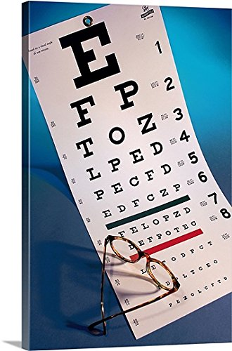 Premium Outdoor Canvas Wall Art Print entitled Eye chart with eyeglasses (Eye Chart Shot Glass compare prices)