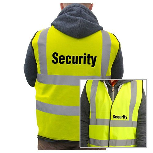 Yellow Printed Security Hi-VIS High Visability Safety Vest Waistcoat