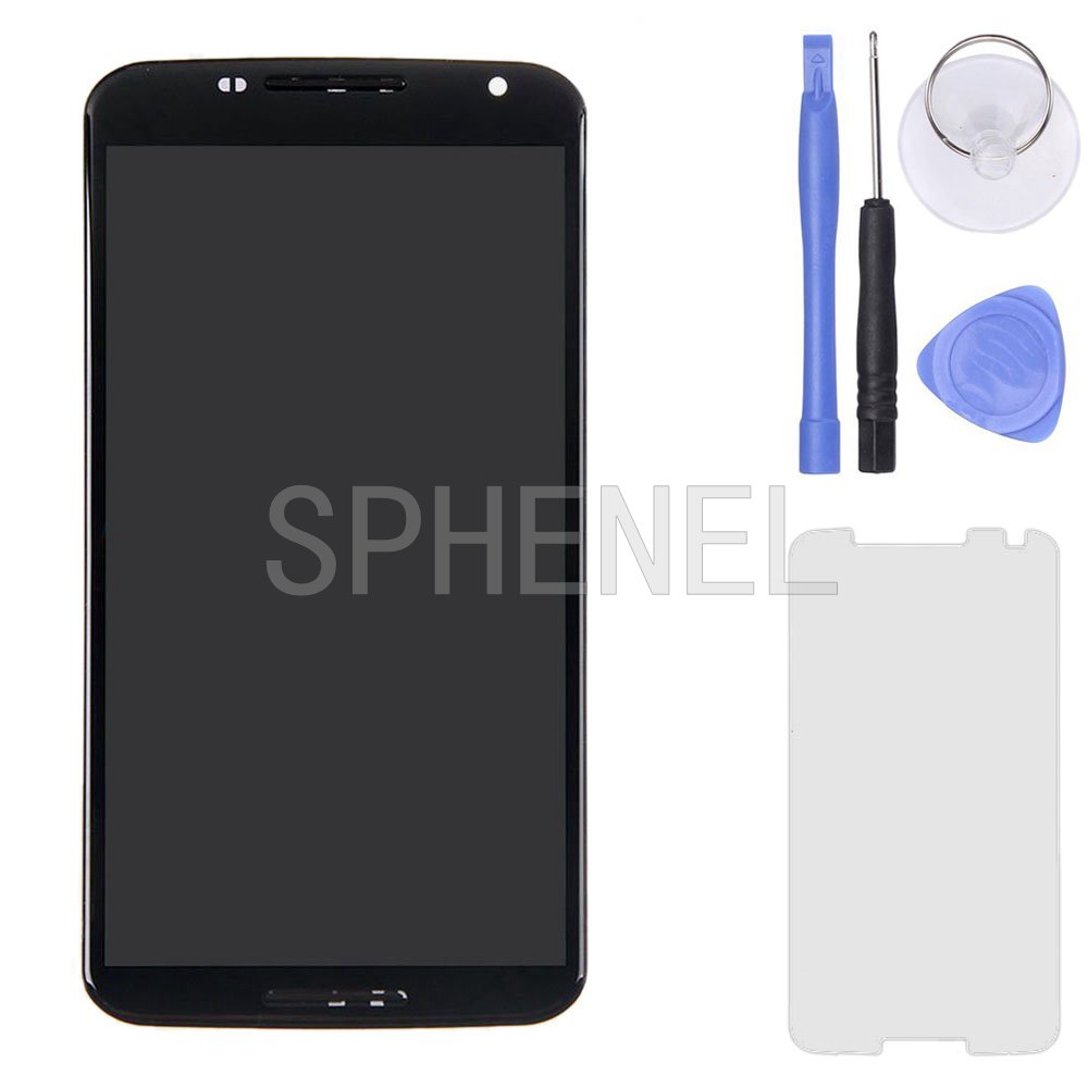 SPHENEL LCD Display And Digitizer Touch Screen Assembly With Screen Frame For Motorola Google Nexus 6 XT1100 XT1103 (With Frame)