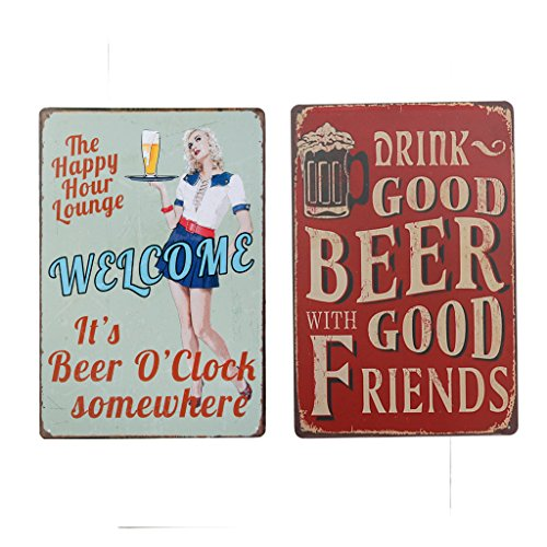 Baoblaze Placas Metálico Vintage Tin Sign Decor Adorno 2 Pcs