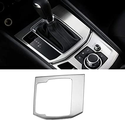 Black Gear Panel Beautost Fit For Mazda 2017 2018 2019 CX-5 CX5 Gear Shift Knob Console Media Panel Cover Trim Stainless steel