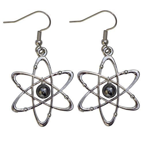 (Atomic Science Earrings: Carbon Atoms With Six Electrons & Swarovski Pearl Nucleus - Science Jewelry)