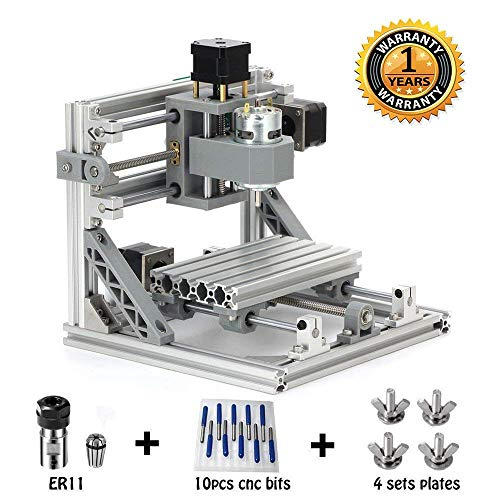 MYSWEETY DIY CNC Router Kits 1610 GRBL Control Wood Carving Milling Engraving Machine (Working Area 16x10x4.5cm, 3 Axis, 110V-240V), with ER11 and 5mm Extension Rod (Best 80 Percent Lower Jig)