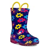 Zoogs Light-up Rainboot-Flowers,Navy,6 M Toddler
