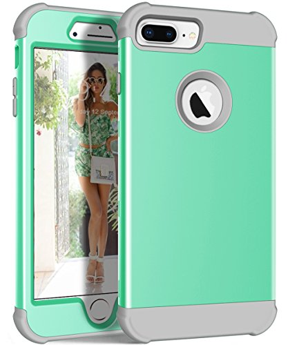 iPhone 8 Plus Case, KAMII 3 in 1 Hybrid Hard PC Soft Rubber Anti-Scratch ShockProof Anti Slip Full-Body Protective Skin Cover for Apple iPhone 8 Plus/7 Plus/6S Plus/6 Plus[5.5inch] (Aqua+Grey)