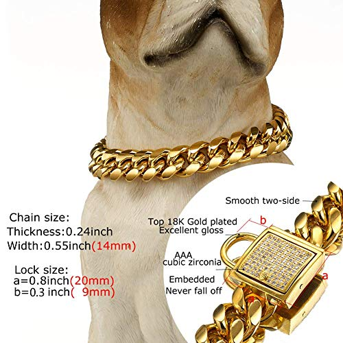 Abaxaca Gold Dog Collar Royal Metal Buckle Locking Stainless Steel 14mm Thick Training Collar Cuban Link with Zirconia Lock Necklace Chain for Strong Dog (18 inch) by Abaxaca (Image #3)
