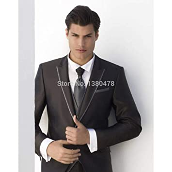 GFRBJK Black Groom Tuxedos Wedding Groomsman Suit Groomsman ...