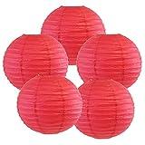 Just Artifacts 8-Inch Flamingo Pink Chinese Japanese Paper Lanterns (Set of 5, Flamingo Pink)