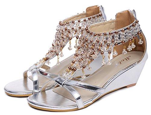 Rhinestone Talon sandales Gladiateur Perle Briller Des Femmes Chaussures haut cale Odema Argent Ewq6pW