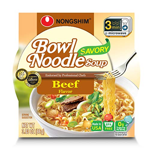 NongShim Bowl Noodle Soup, Beef, 3.03 Ounce (Pack of 6) (Beef Noodle)