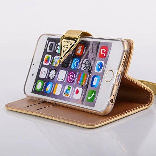 Phone Wallet Case para iPhone 7 Plus / 8 Plus, Vandot Desmontable Magnético Flip Folio Funda, 2-en-1 Cartera Carcasa Piel PU Cuero Funda Case Cover con 9 Ranuras para Tarjetas y Función de Soporte par ZSW -1