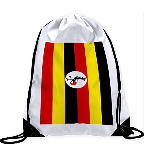 Large Drawstring Bag with Flag of Uganda - Many Designs - Long lasting vibrant image by crystars