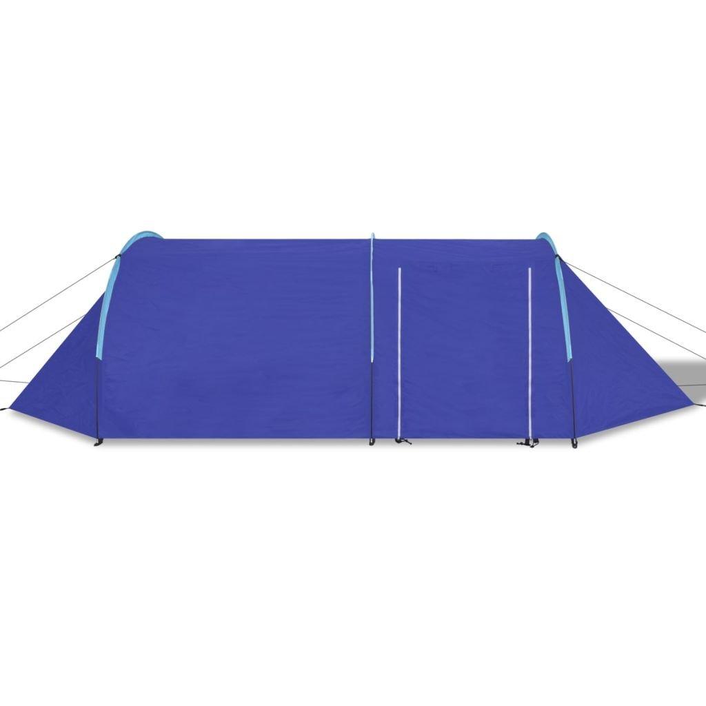 vidaXL Tienda de Campaña Camping para Cuatro Personas Azul Marino ...