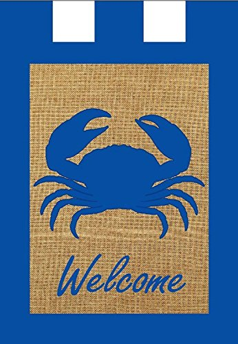 [Welcome Crab Summer Burlap Garden Flag Nautical Ocean Life 12.5