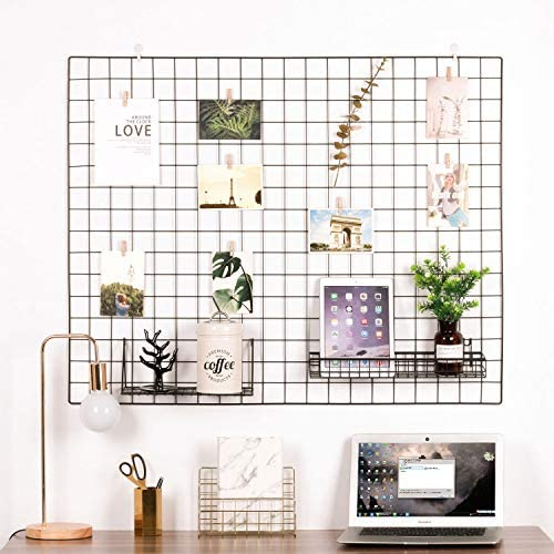 Kaforise Vinyl Dipped Wire Wall Grid Panel, Multifunction Photo Hanging Display and Wall Storage Organizer, Pack of 1, Size 39.4 X 31.5 , Black