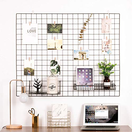 Kufox Vinyl Dipped Wire Wall Grid Panel, Multifunction Photo Hanging Display and Wall Storage Organizer, Pack of 1, Size 39.4