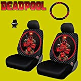 1 New Design 6 Pieces Marvel Comic Deadpool Car Seat Covers And Steering Wheel