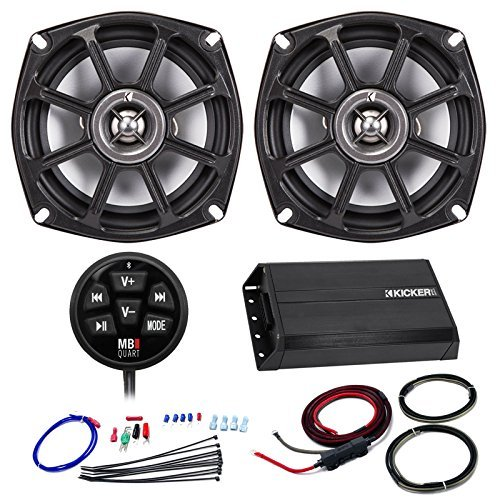 Speaker And Amp Combo Of Kicker 200 Watt Full Range 2 Channel Amplifier Bundle With Scosche 10Awg Amp Power Kit   Bluetooth Controller   2X 5 1 4  Coaxial Speakers For Harley Motorcycle Audio Upgrade