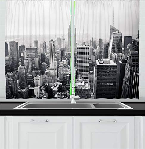 Ambesonne Urban Kitchen Curtains, USA Decor Theme Aerial View of New York City Skyscrapers and the Foggy Sky Digital Print, Window Drapes 2 Panels Set for Kitchen Cafe, 55W X -