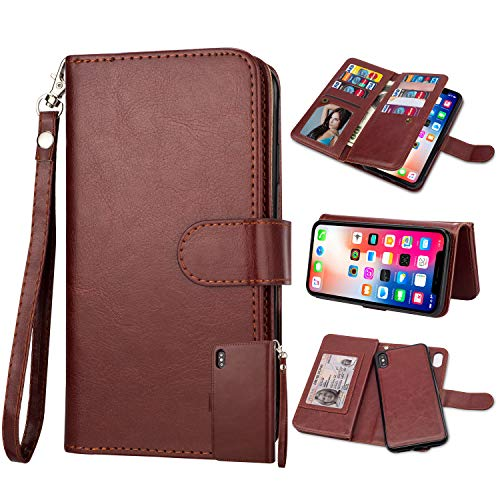 Black Friday Cyber Monday Deals-For iPhone XS Wallet Case,iPhone X Case,Leather Wallet Case Magnetic Detachable Slim Back Cover Card Holder Slot Wrist Strap Case for iPhone Xs (2018) (Brown)]()
