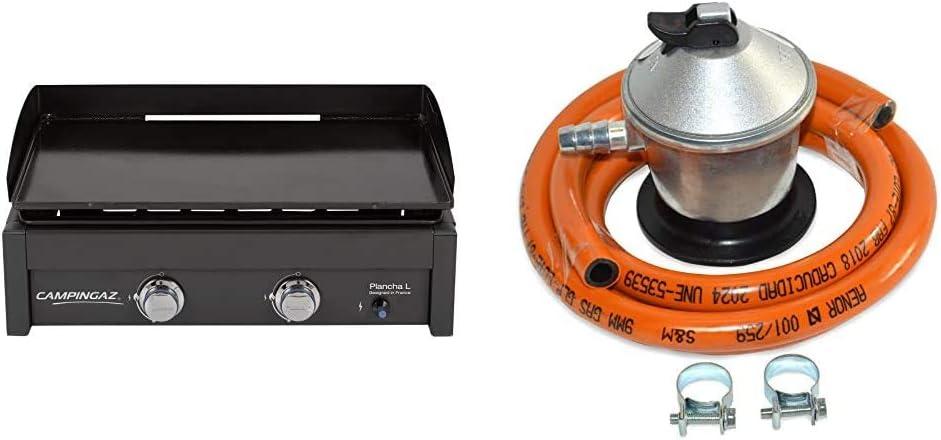 Campingaz Plancha L - Plancha de gas con dos quemadores de acero aluminizado, 7.5 kW de potencia + S&M 321771 Regulador de Gas Butano Goma M + 2 ...
