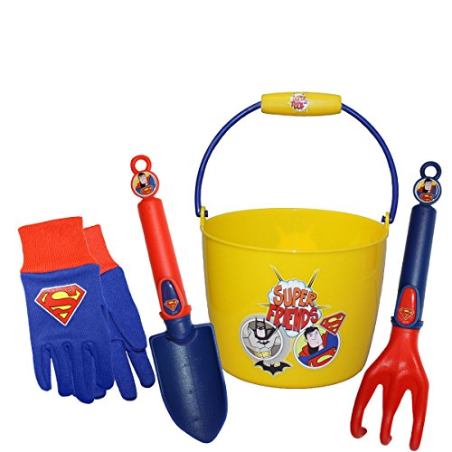 Midwest Gloves & Gear SFSP16P02-EA-AZ-6 Kids Superman Garden Set, Toddler, Blue/Red -