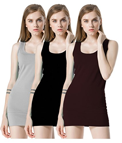 Moxeay Womens Extra Long Stretch Cotton Tank Top Assorted (X-Large, Pack of 3)