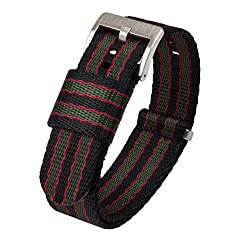 Image of the product 18mm Black/Green/Red that is listed on the catalogue brand of BARTON WATCH BANDS.
