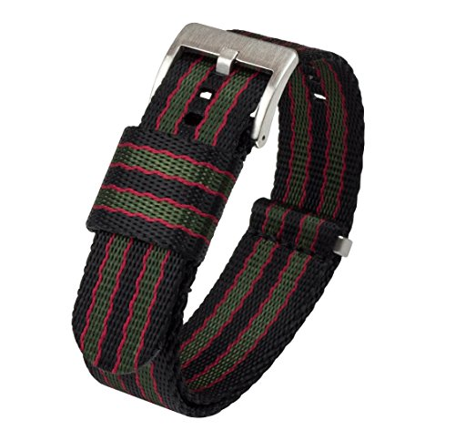 BARTON Jetson NATO Style Watch Strap - 18mm 20mm 22mm or 24mm - Black/Green/Red Classic Bond 20mm Nylon Watch Band by Barton Watch Bands (Image #1)