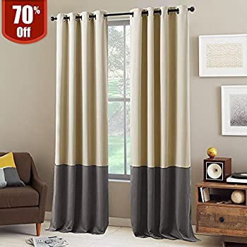 NICETOWN Block Color Blackout Curtains - Home Decor Two Tone Thermal  Insulated Grommet Top Blackout Curtains