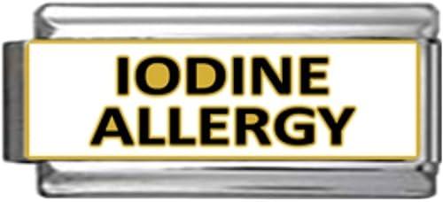 Allergic to Iodine Medical Alert for Italian Charm Bracelets Wallet Card