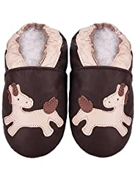Carozoo Pony Brown S Unisex Baby Soft Sole Leather Shoes Kids Toddlers