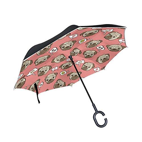 ALAZA Cute Pug Puppy Dog Paw Print Bone Pink Inverted Umbrella, Large Double Layer Outdoor Rain Sun Car Reversible Umbrella