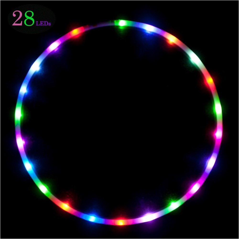 willway 36 inch LED Hula Hoop, 28 Color Strobing and Changing Hula Hoop for Kids and Adults (Instruction Included)