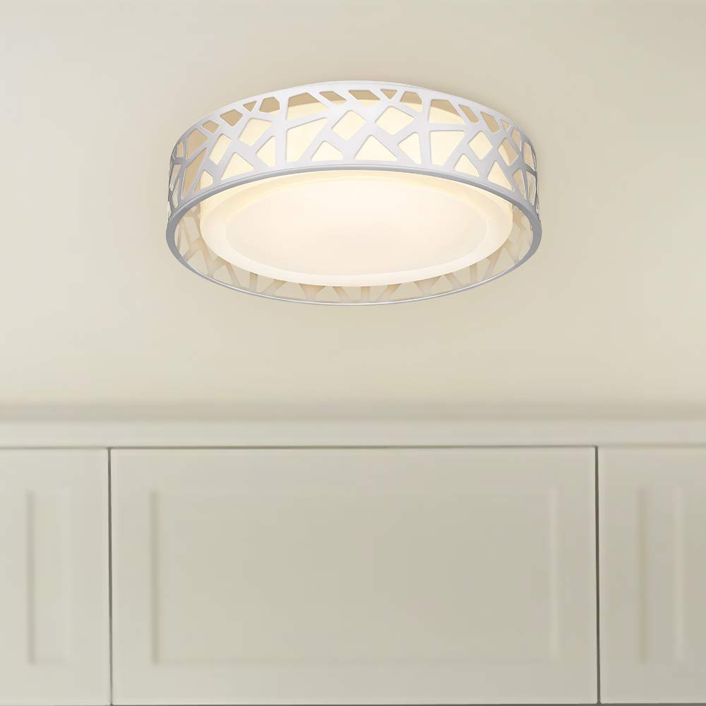 Bedroom ETL Listed for Kitchen 20W LED Ceiling Light Dimmable Hallway Metal Body and Acrylic Shade VICNIE 14 Inch Flush Mount Lighting Fixture,1400 Lumens 3000K Warm White Stairways