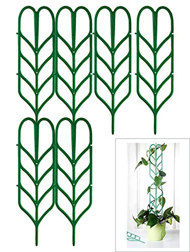 (Jashem Garden Trellis for Climbing Plants 6 PCS Plastic Indoor Trellis for Potted Plants Green Stackable Leaf Shape Mini Climbing Plant Stakes DIY Flower Pot Support for Pea Vegetable Clematis)