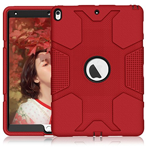 iPad Air 3 Case iPad Pro 10.5 Case A1701 A1709, ZHK Rugged Heavy Duty Anti-Slip Shockproof Hybrid Hard Rubber Bumper Protective Case with Kickstand for iPad Pro 10.5-inch - Red Black ()