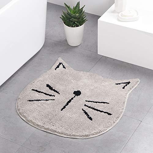 HelloTree Cute Doormat for Kids - Microfiber Absorbent Bathroom Mats - Front Door Mat Carpet Floor Rug, Cat Shape