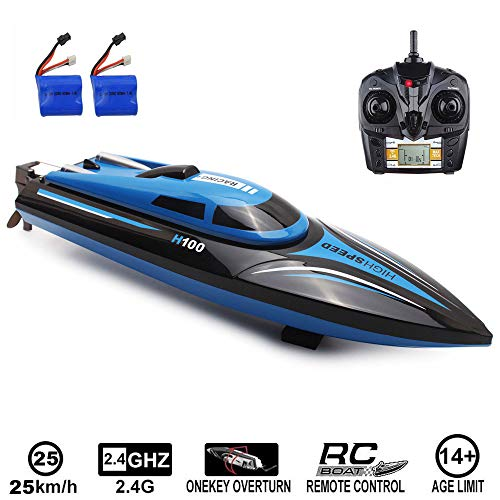 SZJJX RC Boat 2.4Ghz 25KM/H High Speed 4 Channels Remote Control Electric Racing Boat for Pools & Lakes Automatically…