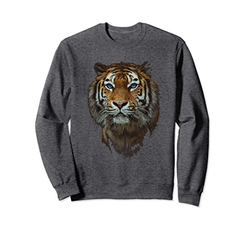 Unisex Tiger Sweat Shirt Bengal Tiger Shirt Apparel Gift Large Dark Heather