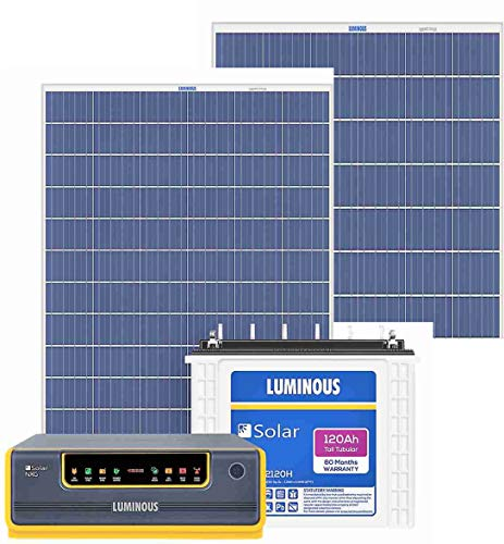Luminous NXG1100 + LPTT12150H 150Ah 1No + 165Watts Solar Panel 2No (Poly) 2021 June Luminous NXG+1100 Sine Wave Solar (12V) 700VA Hybrid UPS (Warranty 24Months) Luminous LPTT12150H 150Ah C10 Tall Tubular Solar Battery (Warranty 60Months) x1No Luminous Poly Crystalline 165 Watts Panels (Warranty 25 Years) x 2Nos
