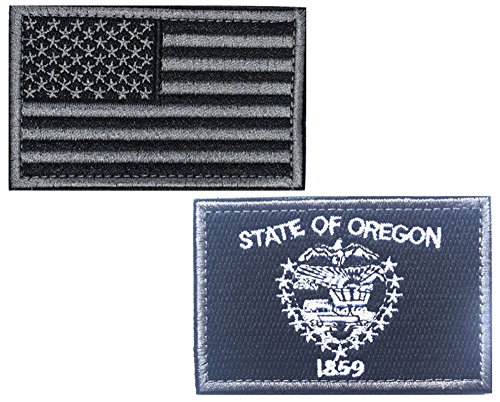 HFDA 2 piece US Flag and BW OREGON Flag Patches Velcro Moral