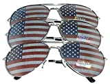 MJ Eyewear American Flag Aviator Sunglasses Glasses Gift Box (3 Pack, USA FLAG)