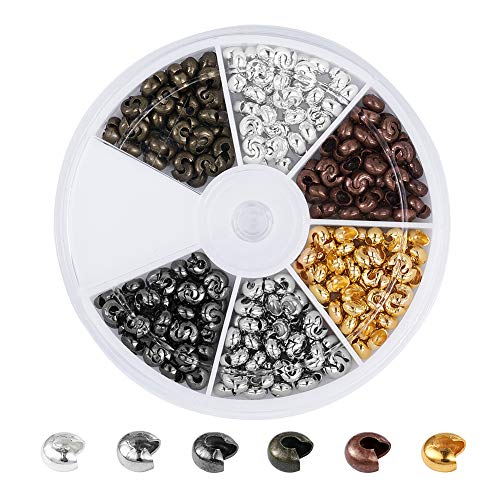 Pandahall 1Box/420pcs 6 Colors 4mm Iron Half Round Open Crimp Beads Covers Knot Covers Beads End Tips for Jewelry Makings Antique Bronze & Red Copper & Black & Silver & Golden & Platinum Nickel Free