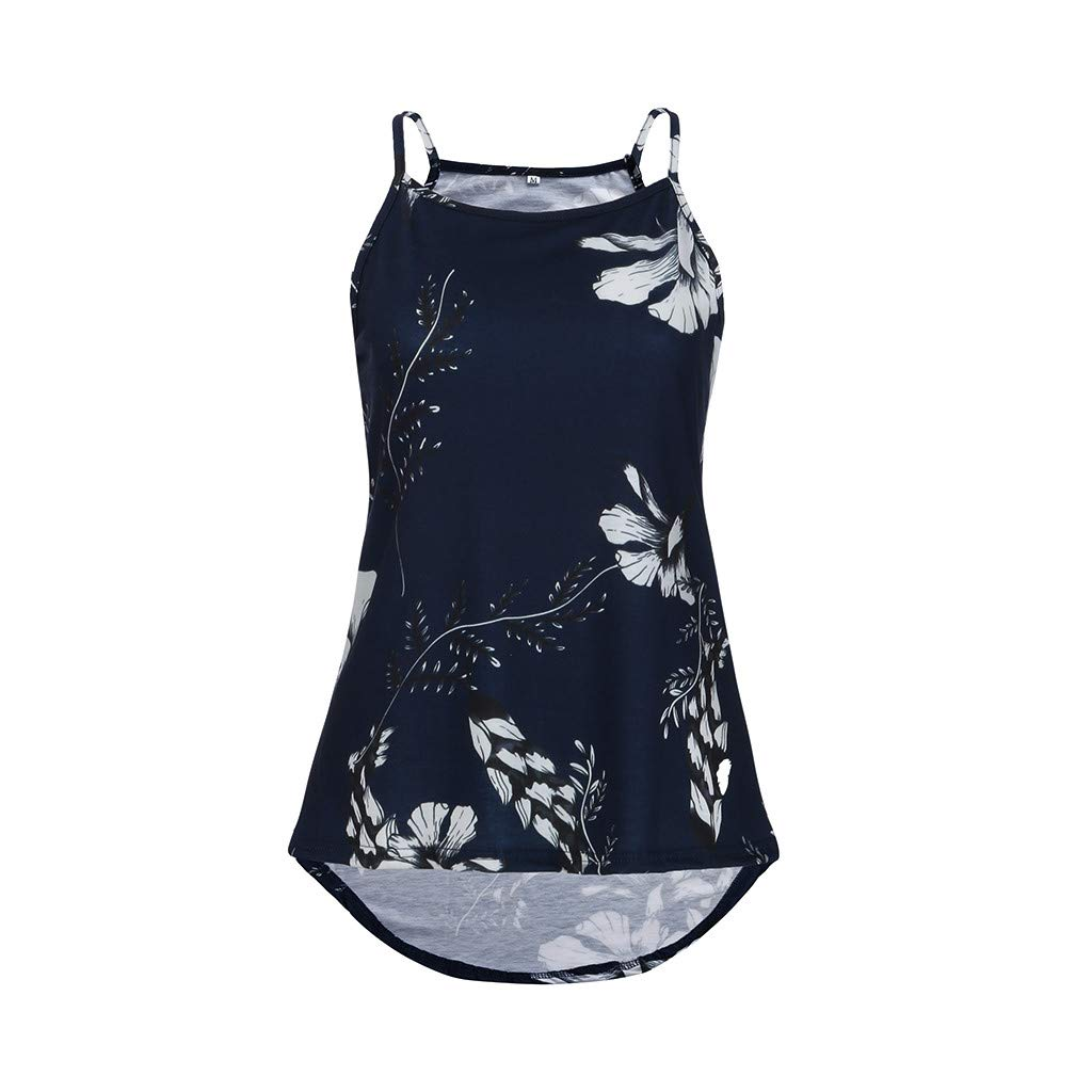 Keliay Cute Womens Tops Summer,Women Summer Floral Vest Sleeveless Shirt Blouse Casual Tank Tops T-Shirt Dark Blue
