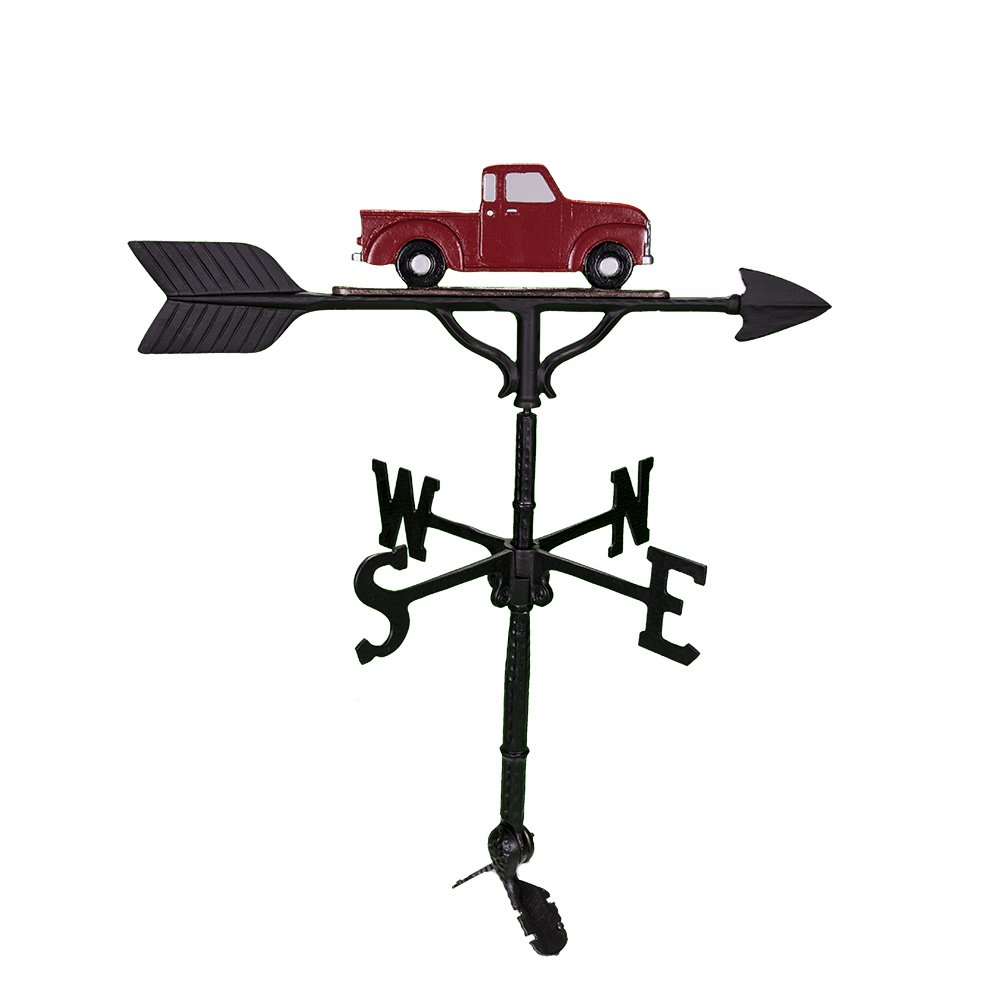 Montague Metal Products 32-Inch Weathervane with Red Classic Truck Ornament