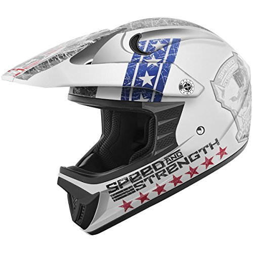 Speed and Strength Dogs of War Full Face SS2300 Motorcycle Helmet (Red/White/Blue, Medium)