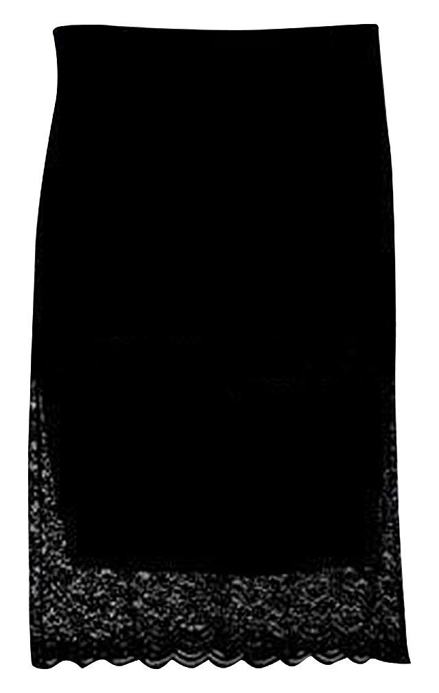 Hibukk White Or Black Straight Slim Floral Lace Scalloped Maternity Midi Skirt, Black L,Manufacturer(XXL)