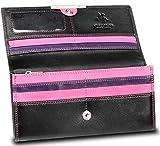 Visconti RIO 11 Ladies Large Soft Leather Wallet Purse Clutch (Black/Pink)